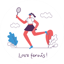 Illustration Of Healthy Tennis Lifestyle Sticker