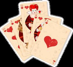 Illustration Of Hearts Royal Flush Sticker