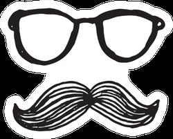 Illustration Of Hipster Men Glasses And Mustache Sticker
