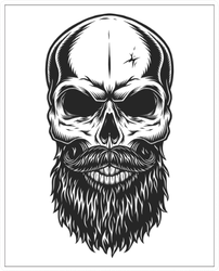 Illustration Of Hipster Skull With Mustache And Beard Sticker
