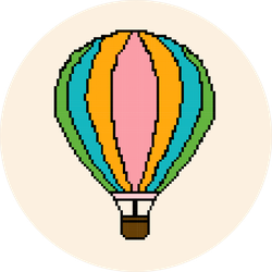 Illustration Of Hot Air Balloon In Pixel Art Sticker