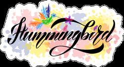 Illustration Of Hummingbird Text Sticker
