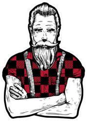 Illustration Of Ink Drawn Man With Beard And Mustache Sticker