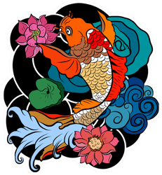 Illustration Of Japanese Koi Fish Sticker