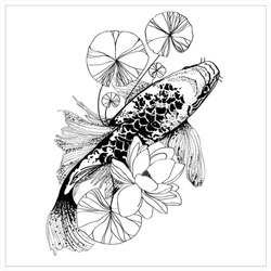 Illustration Of Koi Fish Sticker