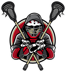Illustration Of Lacrosse Player Wearing Helmets And Hoods Sticker