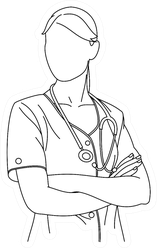 Illustration Of Line Drawing Surgeon Or Medical Nurse Sticker