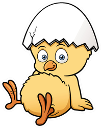 Illustration Of Little Chicken With Egg On Head Sticker