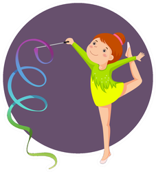 Illustration Of Little Girl Gymnast Performing With Ribbon Sticker