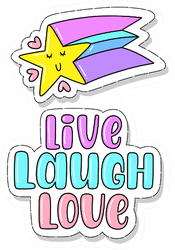 Illustration Of Live Laugh Love Shooting Star Sticker