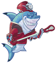 Illustration Of Mean Shark Mascot Lacrosse Sticker
