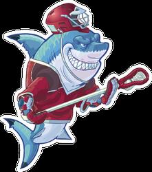 Illustration Of Mean Shark Mascot Lacrosse Sticker