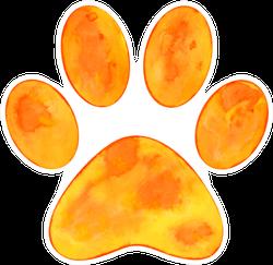 Illustration Of Orange Watercolor Animal Paw Print Sticker