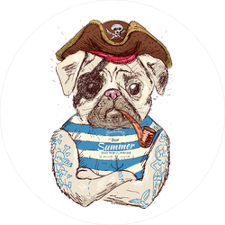 Illustration Of Pirate Pug Sticker