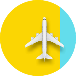 Illustration Of Plane Isolated On Yellow Blue Sticker