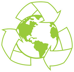Illustration Of Planet Earth Surrounded By A Recycle Symbol Sticker