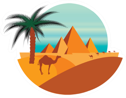 Illustration Of Pyramids And Desert With Camels Sticker