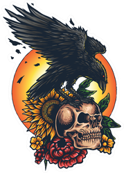 Illustration Of Raven Crow Skull Flowers And The Sun Sticker