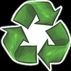 Illustration Of Recycle Symbol Drawn Sticker