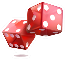 Illustration Of Shiny Red Dice Sticker