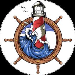 Illustration Of Ship Wheel Lighthouse Wave And Sky Sticker