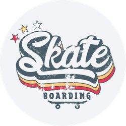 Illustration Of Skateboarding Vintage Sticker