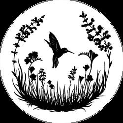 Illustration Of Stylized Hummingbird Drinking Nectar Sticker