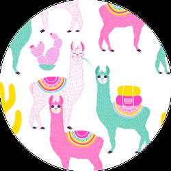 Illustration Of Sweet Colorful Llama Sticker