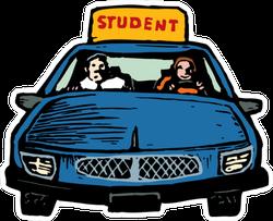 Illustration Of Teen Girl Student Driver Sticker