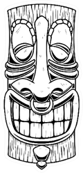 Illustration Of Tiki Tribal Wooden Mask Sticker