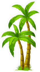 Illustration of Two Palm Trees Sticker