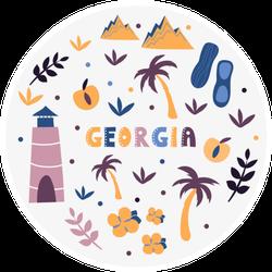 Illustration Of Usa Georgia State Symbols Sticker