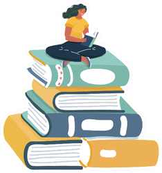Illustration Of Woman Reading On Giant Stack Of Books Sticker