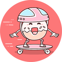 Illustration Smile Donut Skateboarding Sticker
