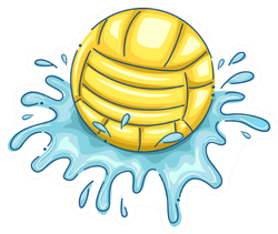 Illustration Water Polo Ball With Water Splashing Sticker