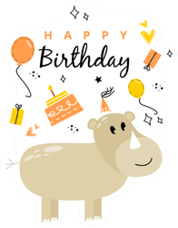 Illustration With A Rhino And The Inscription Happy Birthday Sticker