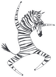 Illustration With Dancing Zebra Sticker