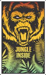 Illustration With Gorilla And Jungle Sticker