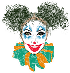 Illustration With Joker Girl With Green Curly Hair Sticker