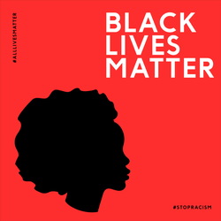 """Illustration With The Text """"Black Lives Matter"""" On Red Sticker"""