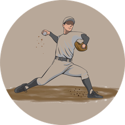 Image Illustration Of A Pitcher Throwing A Ball Sticker