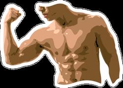 Image Of A Male Torso Flexing Biceps Sticker