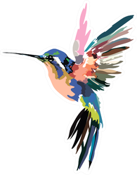 Image Of A Multi-colored Caliber Hummingbird Sticker