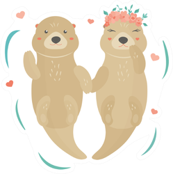 Image With A Lovely Otters, Boy And Girl In Floral Wreath Sticker