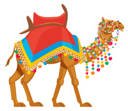 Indian Camel Traditional Colorful Decorated Sticker
