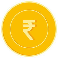 Indian Rupee Gold Coin Illustration Sticker