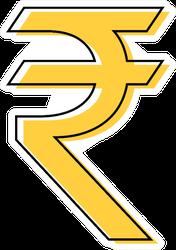 Indian Rupee Illustration Sticker