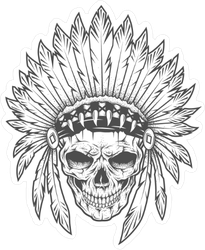 Indian Skull With Feather Headdress Sticker
