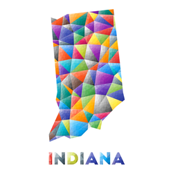 Indiana - Colorful Low Poly Us State Shape Sticker