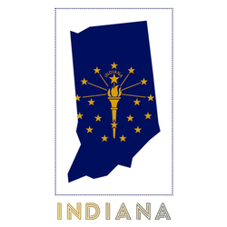 Indiana Logo Map Lettering Sticker